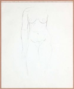 1965 Standing Female Model Graphite 17 x 13.75