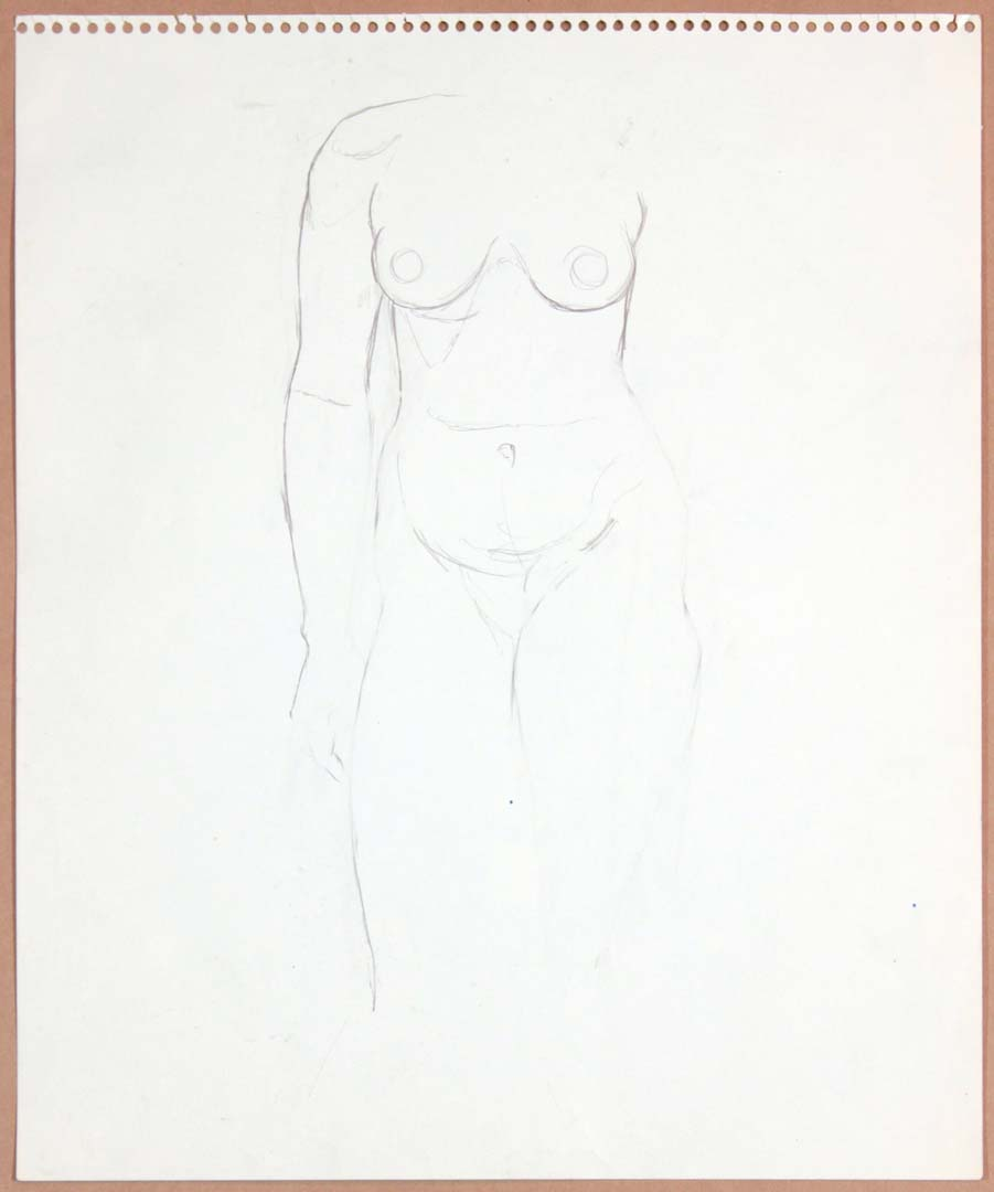 "1965 Standing Female Model Graphite 17"" x 13.75"""