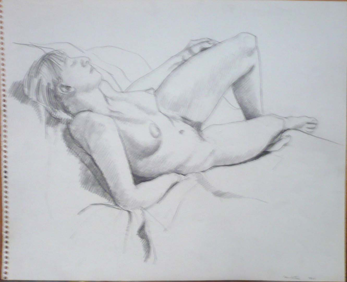 "1964 Female Model Reclined Pencil 13.75"" x 17"""
