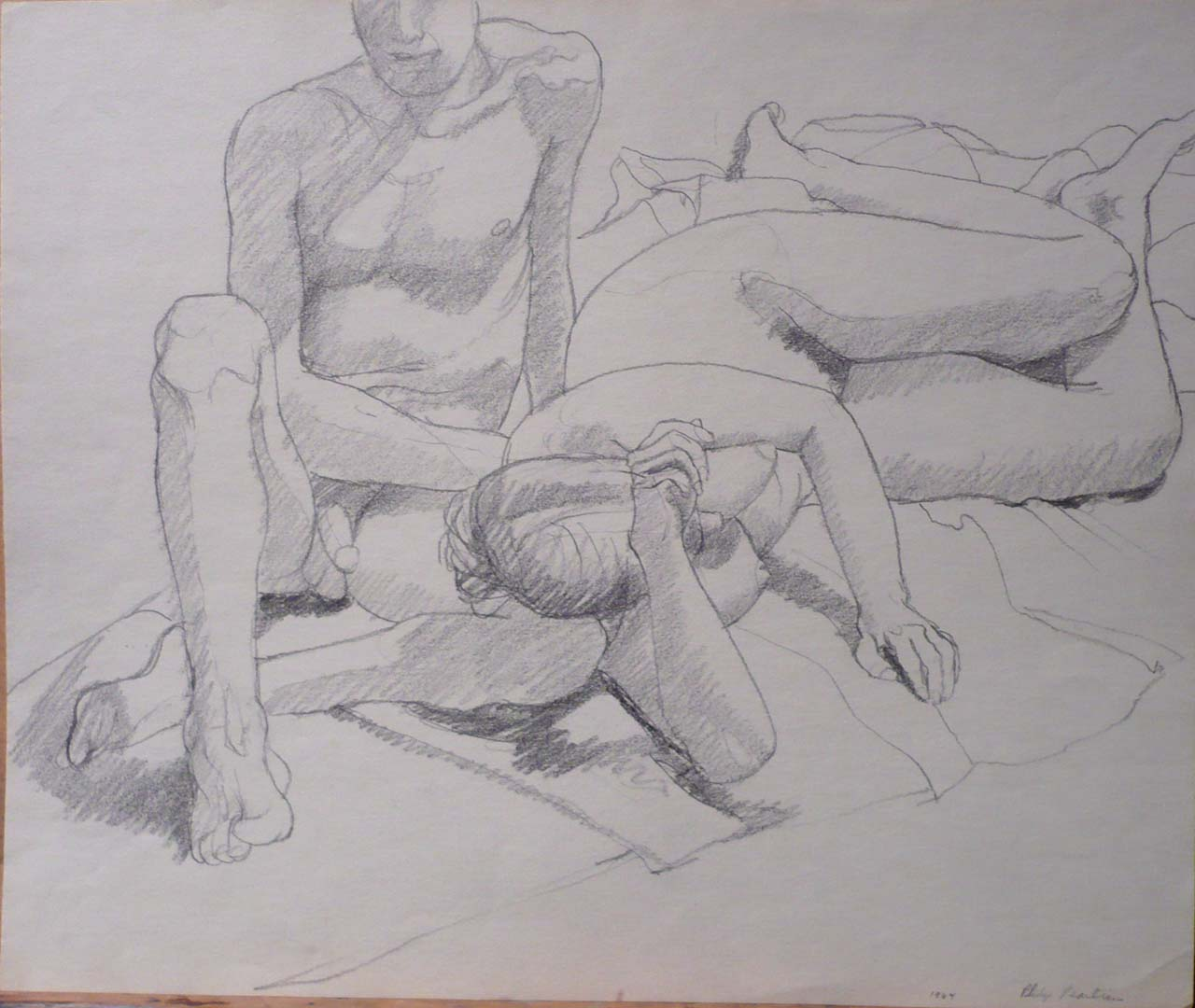 "1964 Female Model's Head resting on Leg of Seated Male Model Pencil 13.875"" x 16.625"""