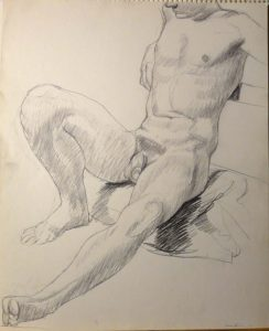 1964 Male Model Leaning Back Pencil 17 x 13.75