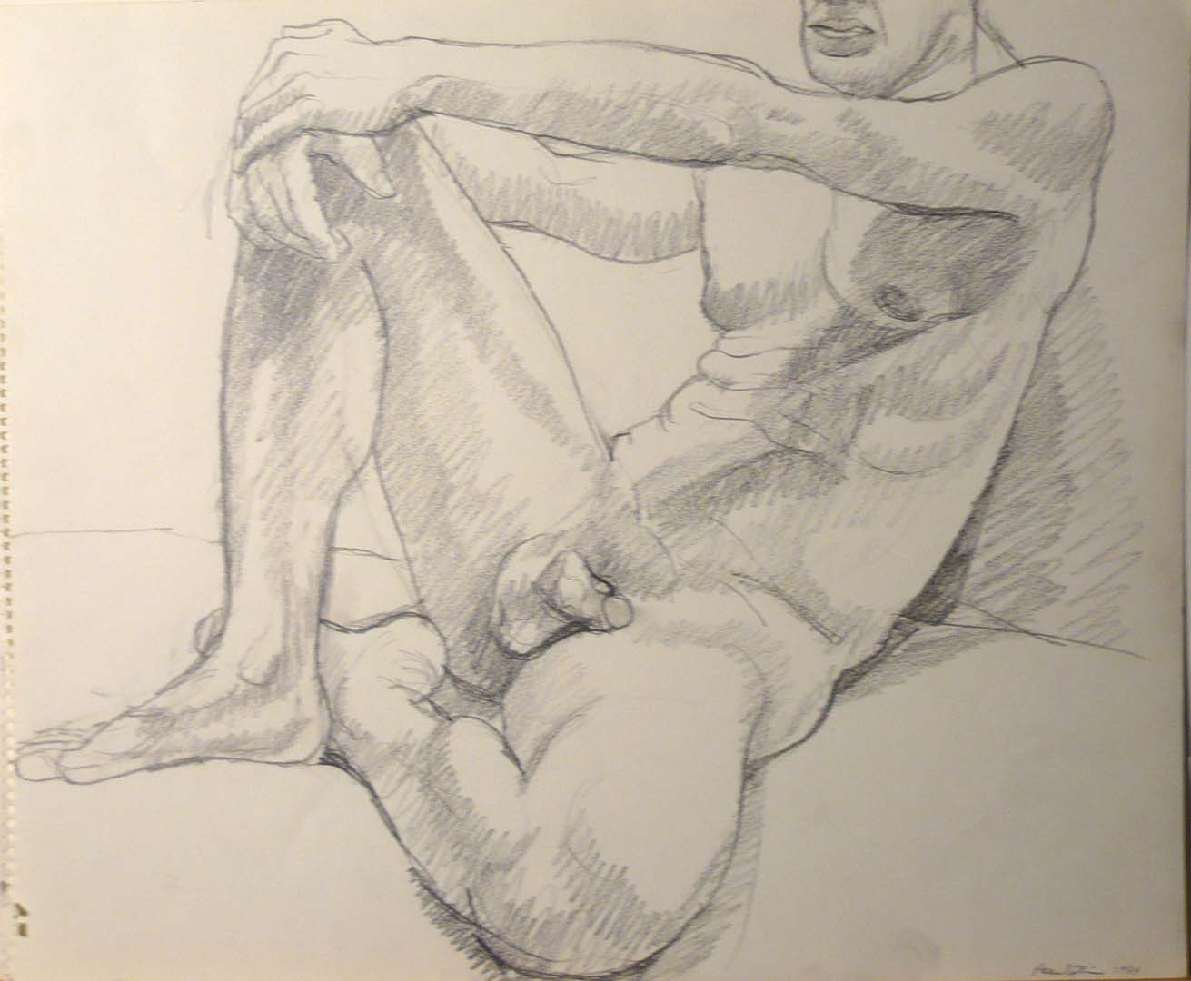 "1964 Male Model reclining Pencil 14"" x 17"""