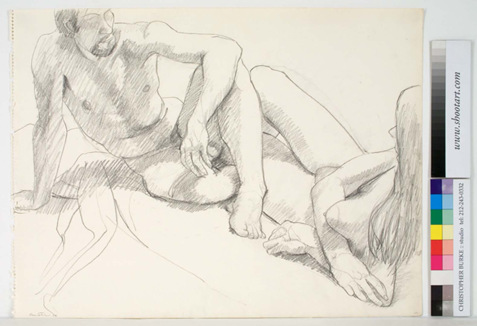 """1964 Male and Female Models Facing Pencil 18"""" x 23.75"""""""