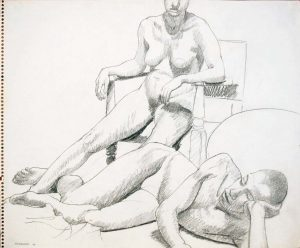 1964 Reclined Male Model and Seated Female Model in Wooden Chair Pencil 14 x 17