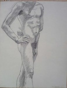 1964 Standing Male Nude with Hand on Hip Pencil 14 x 11