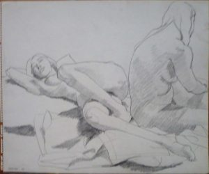 1964 Two Female Models on Drape Pencil 13.875 x 16.875