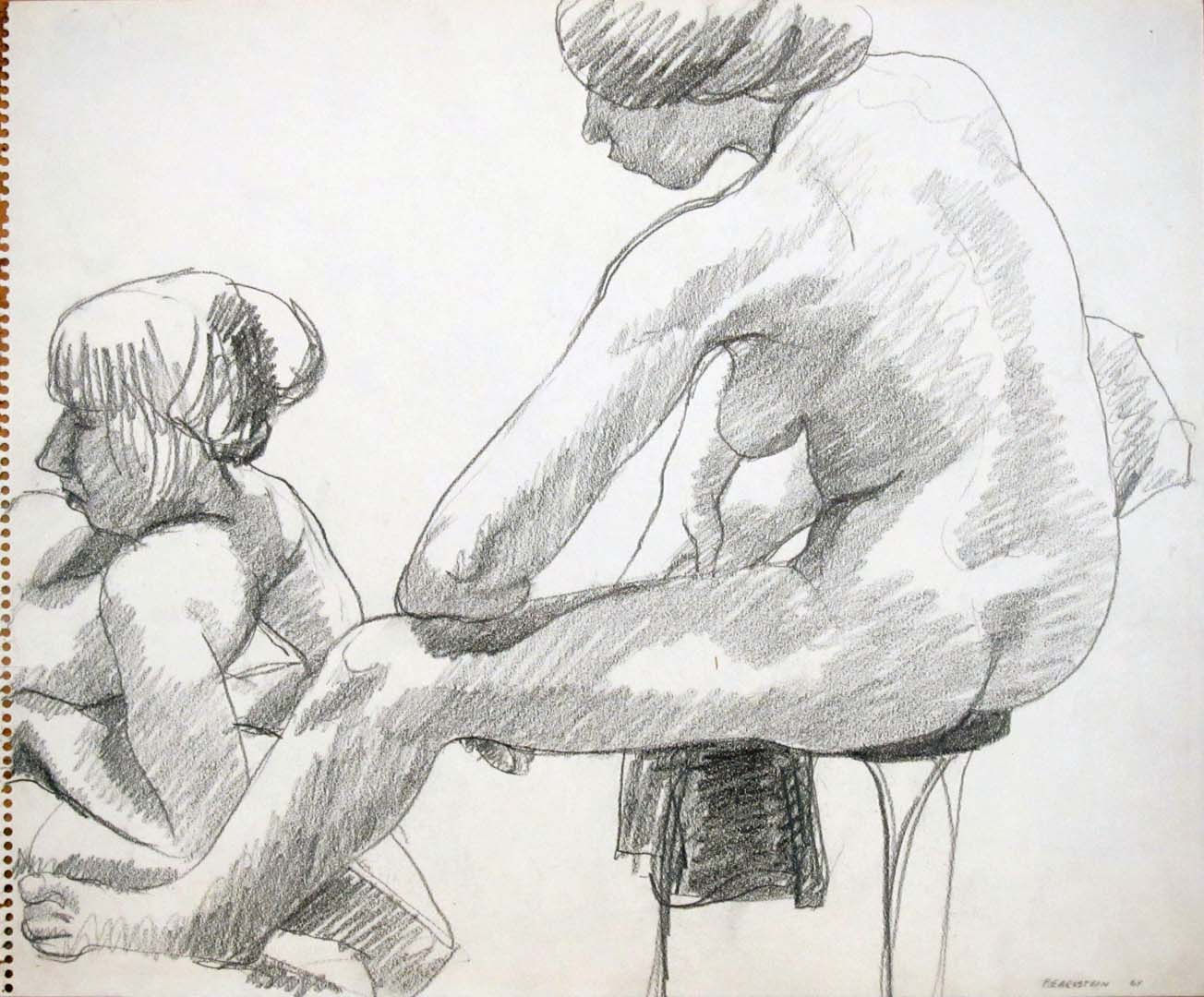 1964 Two Models Seen From the Back Pencil 14 x 17