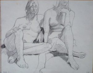 1964 Two Seated Female Nudes Pencil 11 x 14
