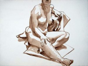 1965 Female Model Seated on Drape Sepia Wash 22.25 x 30