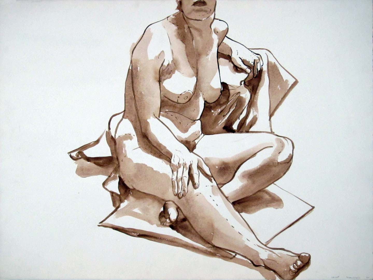 "1965 Female Model Seated on Drape Sepia Wash 22.25"" x 30"""