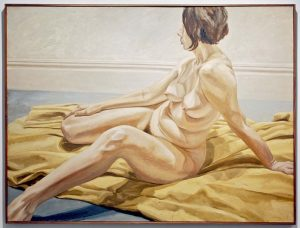 1965 Female Nude on Yellow Drape Oil on Canvas 53.75 x 72