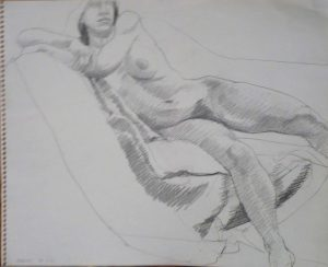 1965 Leaning Female Nude Pencil 10.75 x 13.75