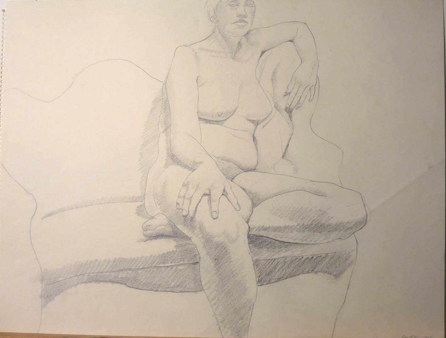 "1965 Model Seated on Victorian Sofa Pencil 17.875"" x 23.875"""