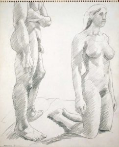 1965 Standing Male and Kneeling Female Pencil 13.75 x 17