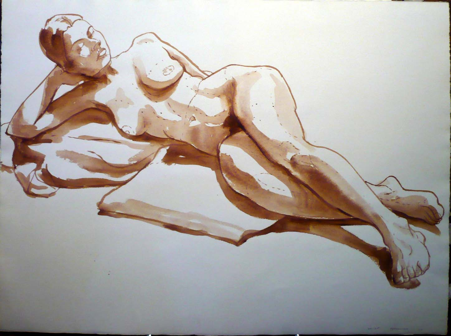 "1966 Female Nude Seated in Front of Male Nude Sepia Wash 22"" x 30"""