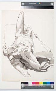 1966 Foreshortened Nude Black Wash 29.875 x 22
