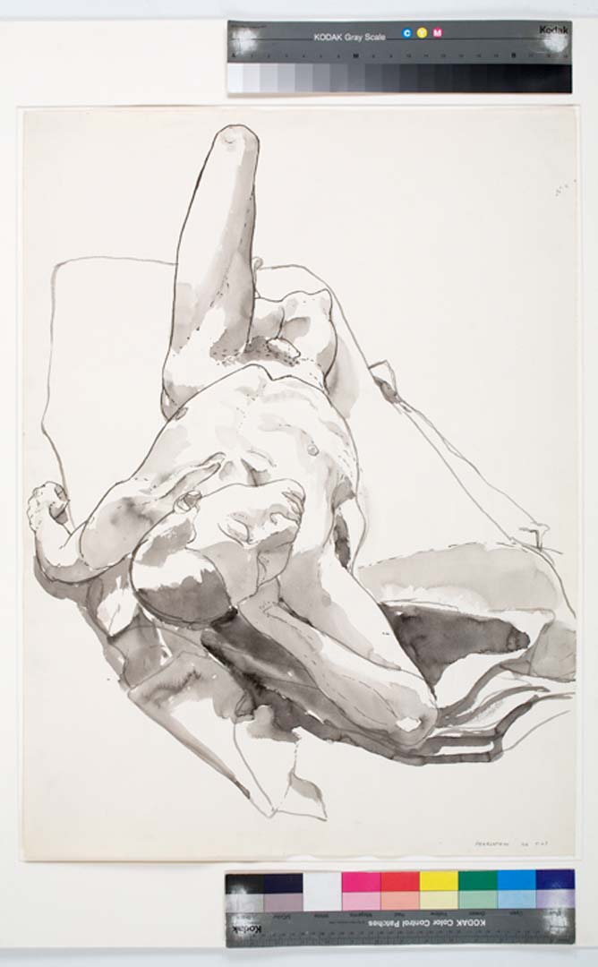 1966 Foreshortened Nude Black Wash 29.875 x 22