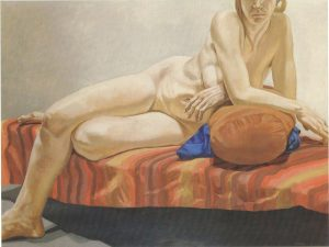 1966 Nude Reclining on Striped Drape Oil on Canvas 54 x 71