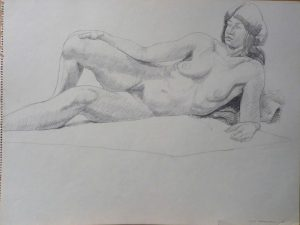 1966 Reclining Female Model Pencil 18 x 24