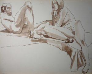 1966 Reclining Male and Female Models Sepia 22.375 x 28.5
