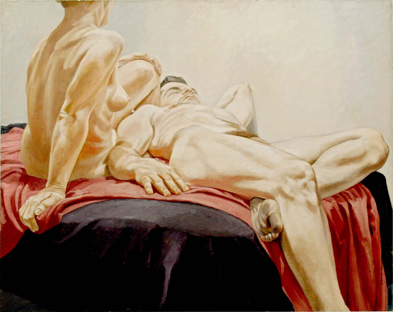 "1966 Reclining Male and Female Nudes on Red and Black Drapes Oil on Canvas 48"" x 60"""