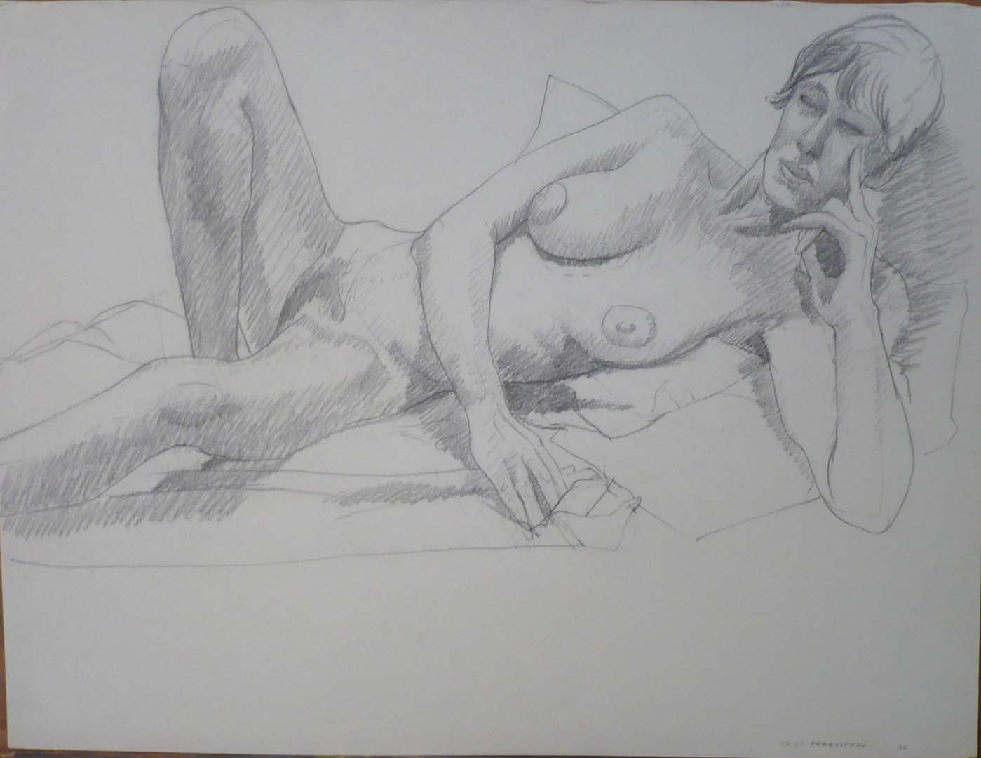 "1966 Reclining Model with Head Resting on Hand Pencil 19.75"" x 26"""