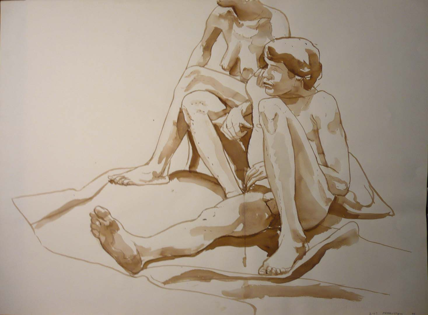 "1966 Seated Nude Couple Sepia 22"" x 29.875"""