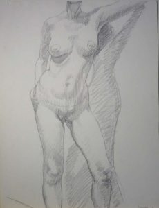 1966 Standing Female Model Pencil 26 x 20