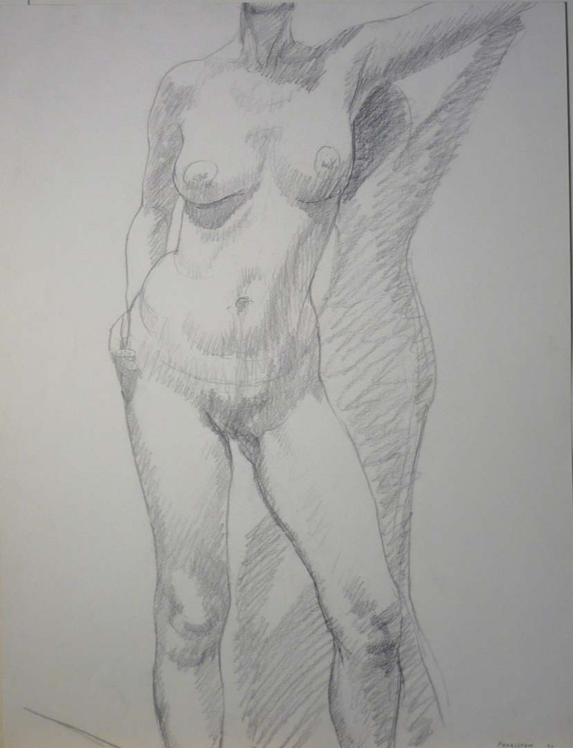 "1966 Standing Female Model Pencil 26"" x 20"""