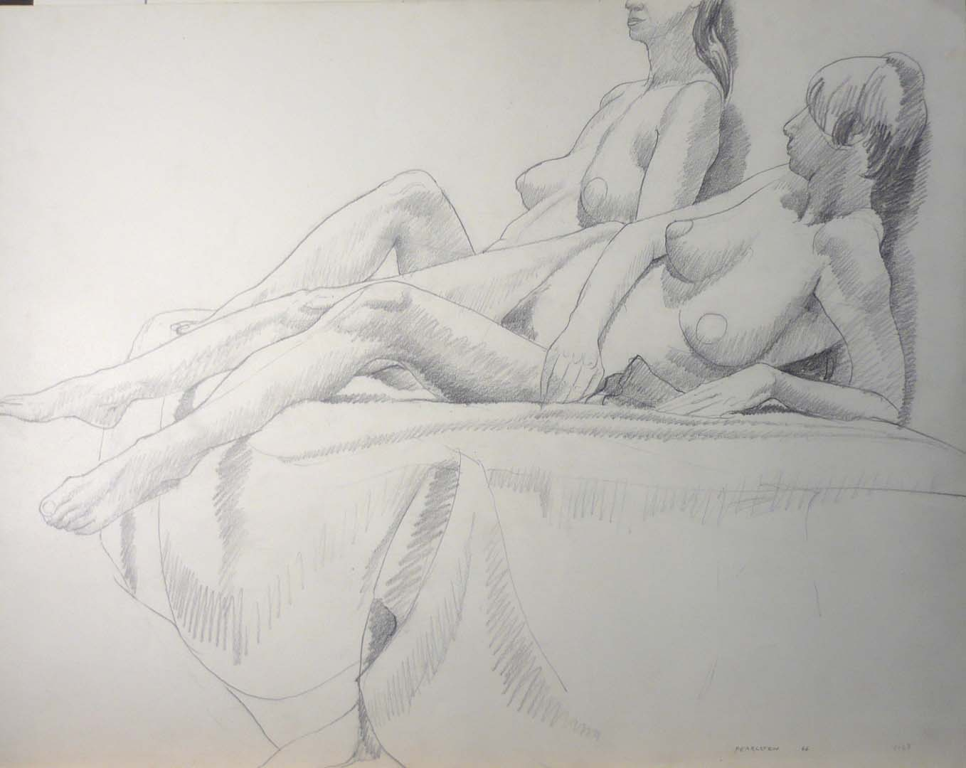 1966 Two Female Models Leaning Back Pencil 22.5 x 28.5