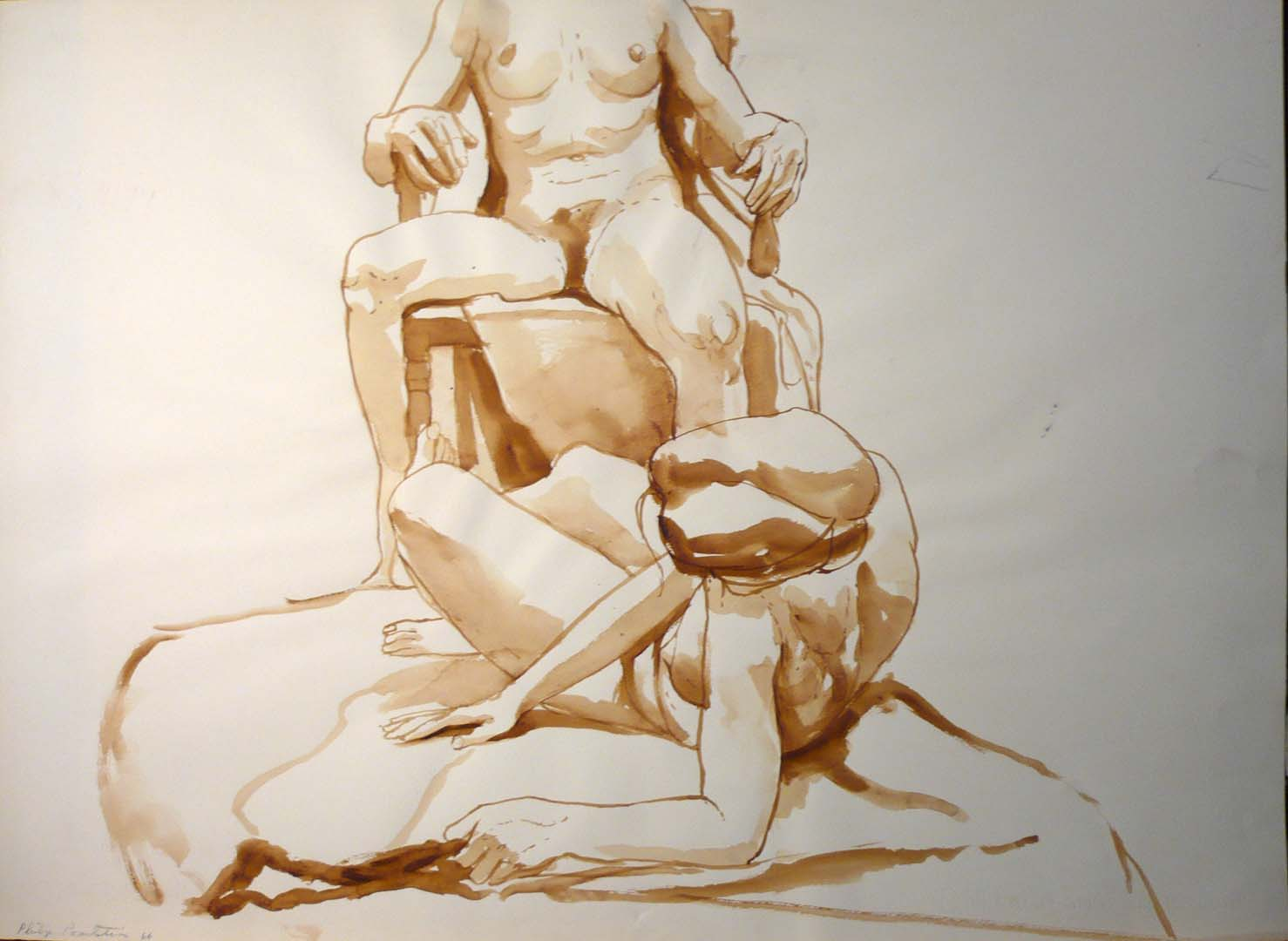 "1966 Untitled (Two Models) Sepia 22"" x 29.875"""