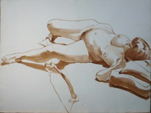 1966 Untitled (reclining female model) Sepia 22.375 x 29.875