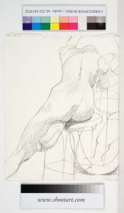1967 Back of Seated Model Facing Mirror #1 Pencil 14 x 11