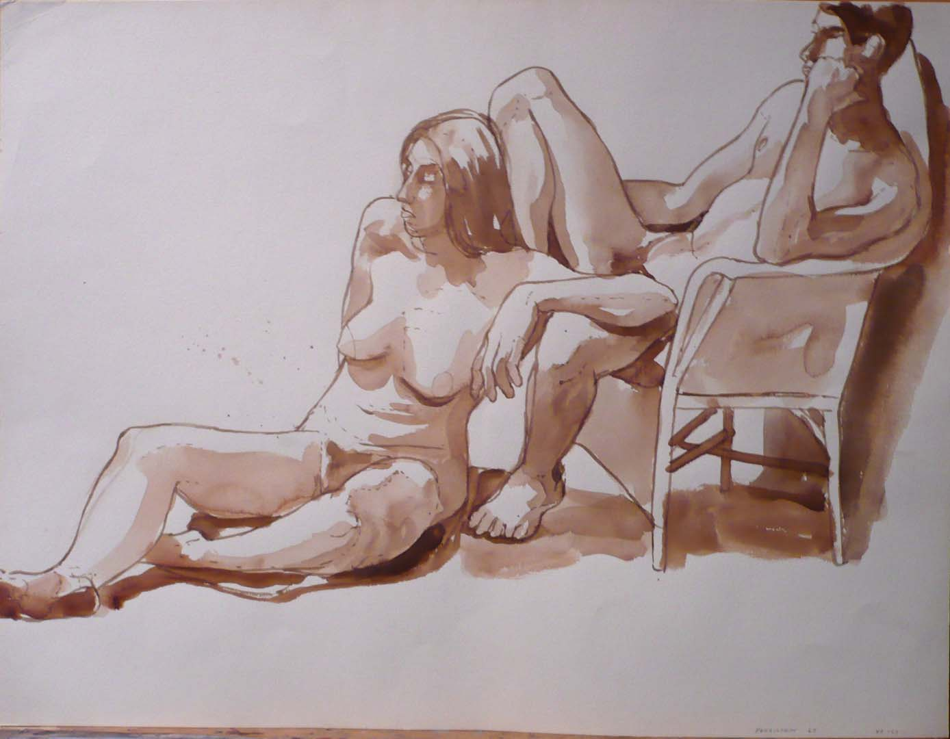1967 Female Model Seated on Floor and Male Model Seated on Chair Sepia 17.375 x 22.875