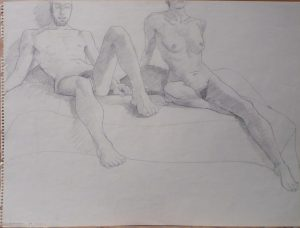 1967 Male Model and Female Model Leaning Pencil 17.875 x 23.875