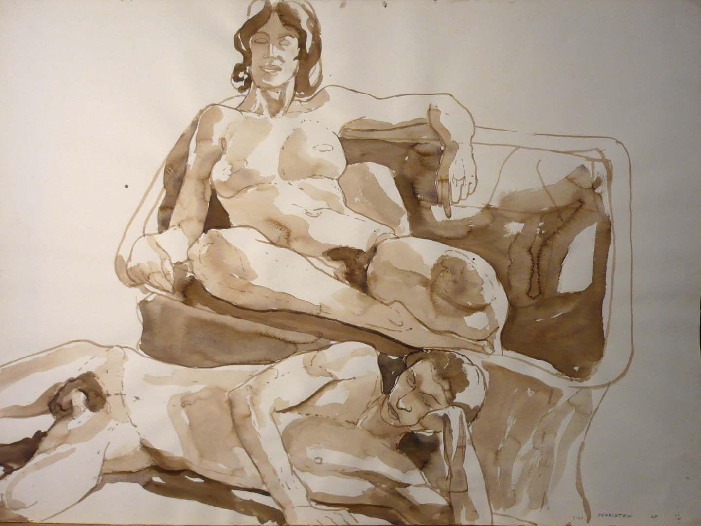 "1967 Male and Female Models with Basket Chair Sepia 22"" x 29.875"""