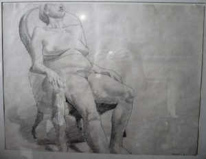 1967 Model Seated in Armchair Pencil 17.5 x 23.5