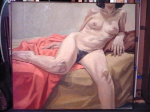 1967 Nude on Orange and Tan Drapes Oil on Canvas 44 x 55