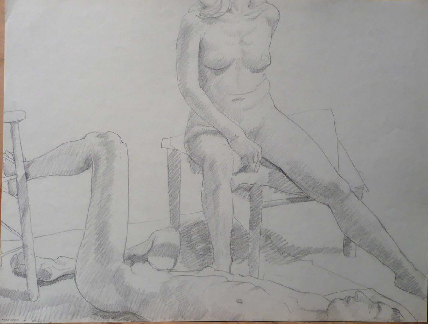 "1967 Reclined Male Model and Seated Female Model Pencil 18"" x 23.75"""