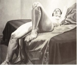 1967 Reclining Nude on Tan and Purple Drapes Oil on Canvas 60 x 72