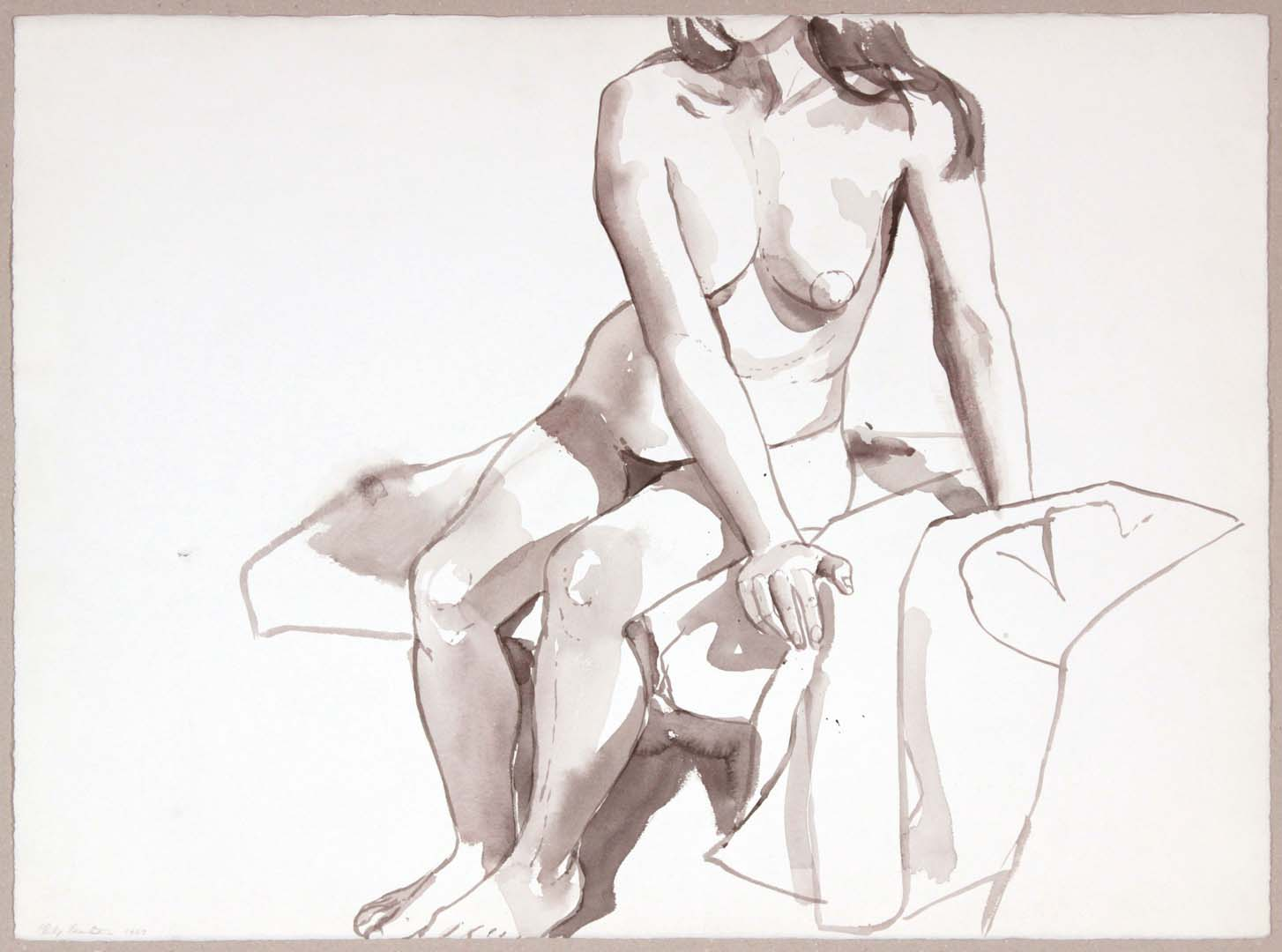 1967 Seated Nude with Arms to the Side Wash 22.125 x 29.875