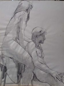 1967 Seated female and Male Models Black Wash 24 x 18