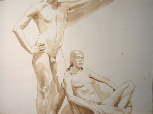 1967 Study for Oil Painting Male and Female Models in the Studio Sepia 22 x 29.875