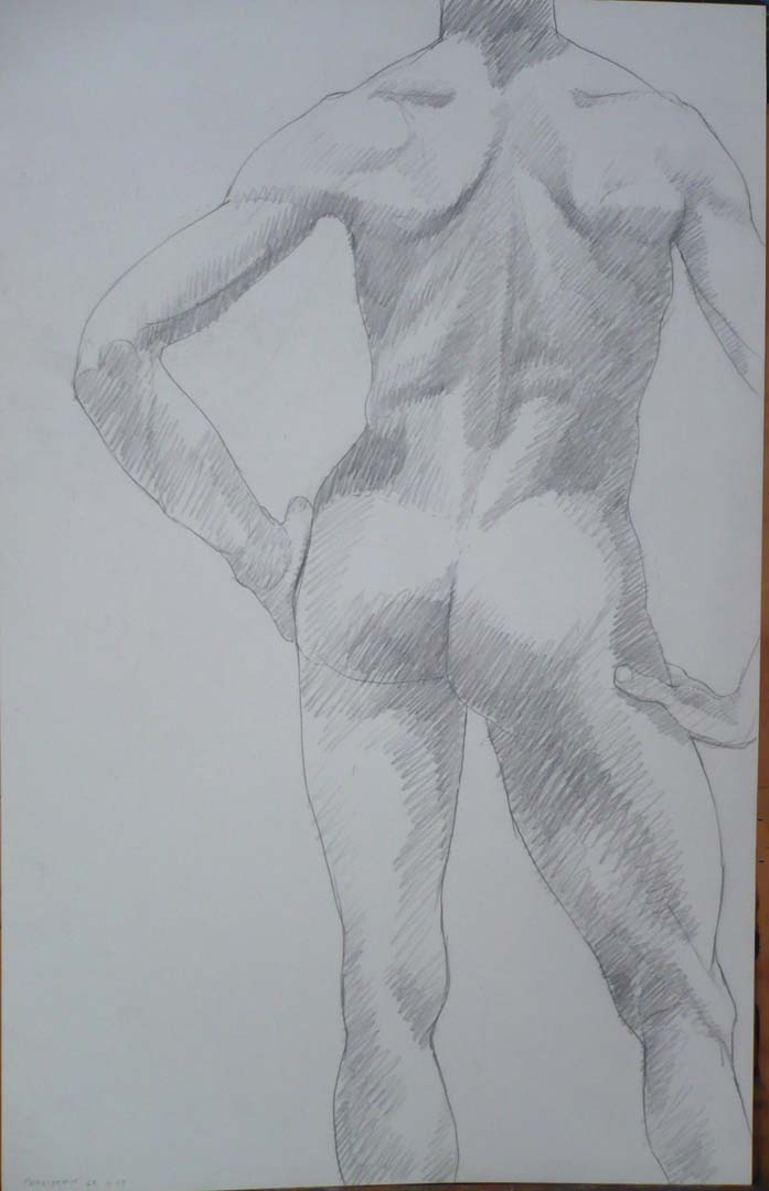 1968 Back of Standing Male Model Pencil 22 x 14
