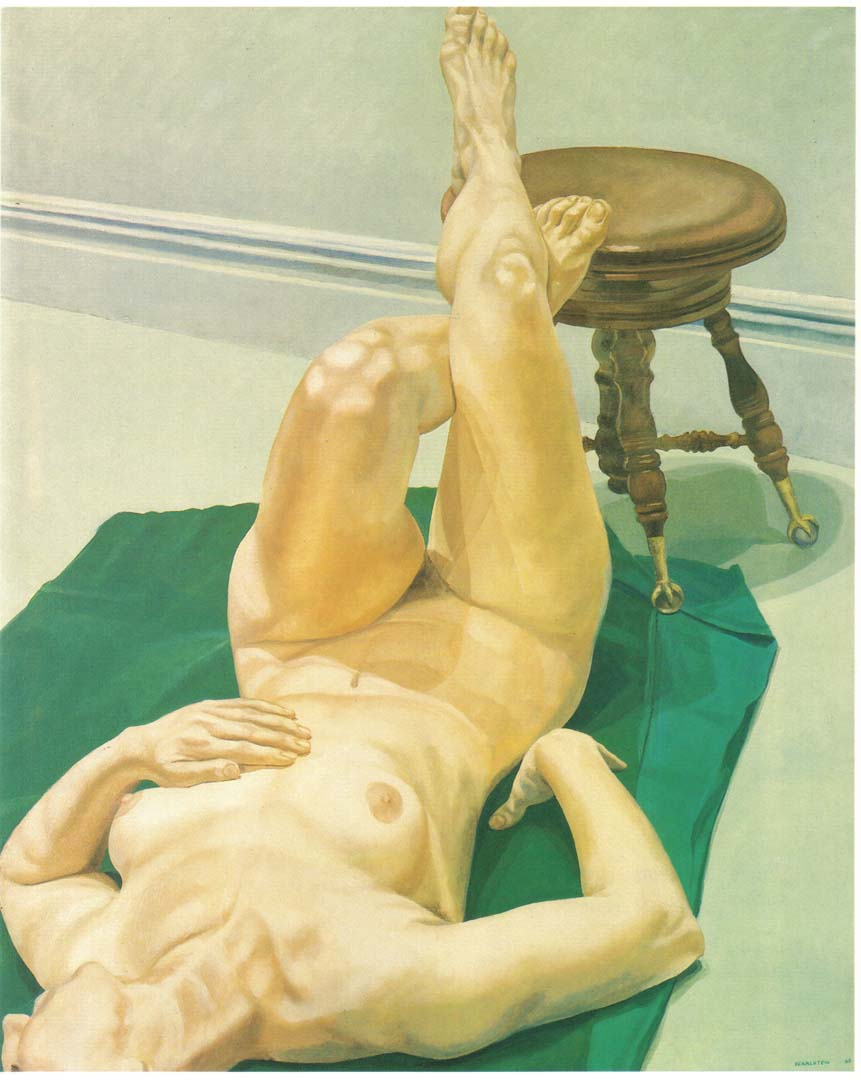 "1968 Female Lying on Green Rug with Foot on Piano Stool Oil on Canvas 44"" x 36"""
