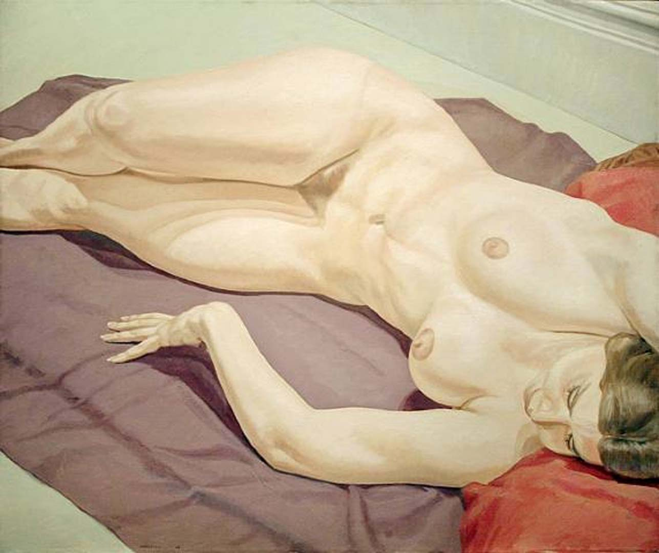 "1968 Female Nude Lying on Purple Drape Oil on Canvas 40"" x 48"""
