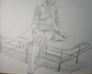 1968 Female Seated on Daybed Pencil 18.875 x 23.875