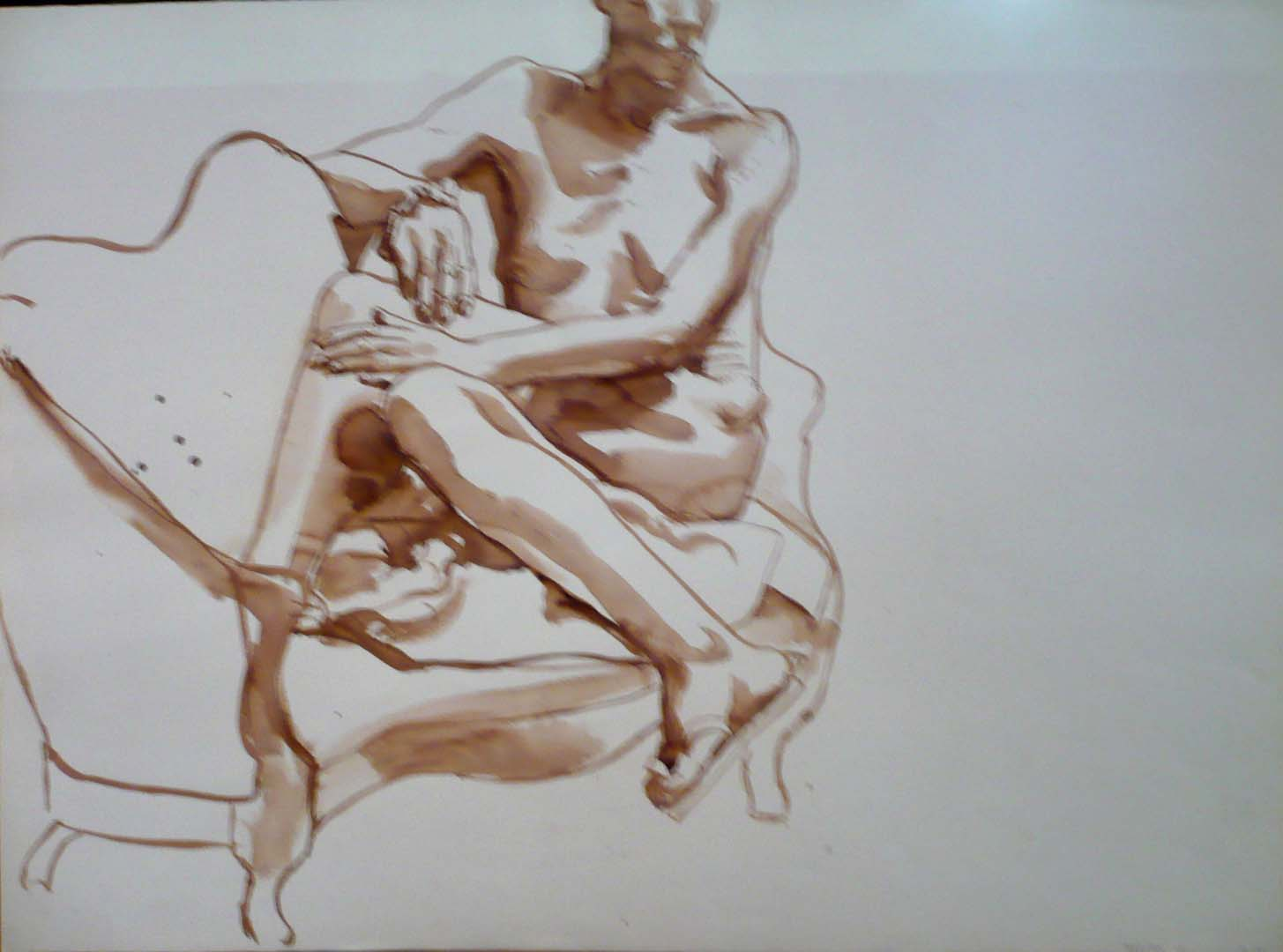 "1968 Female resting on Sofa with Legs Bent Sepia 22"" x 29.875"""