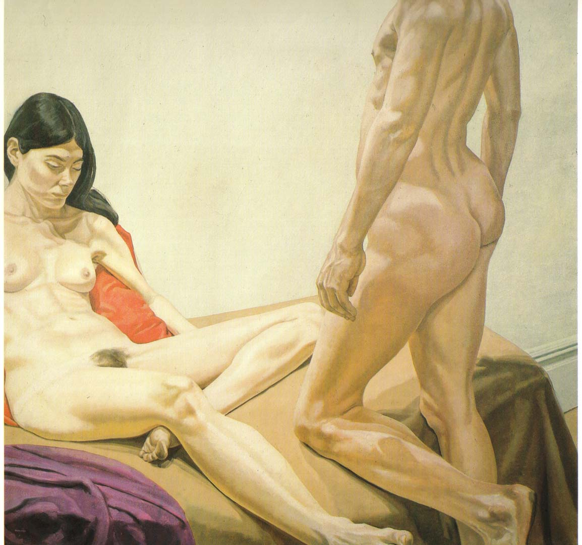 "1968 Male and Female on Red and Purple Drapes Oil on Canvas 75.5"" x 76"""