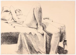 1968 One Leg Up Lithograph on Paper 20.25 x 28.25